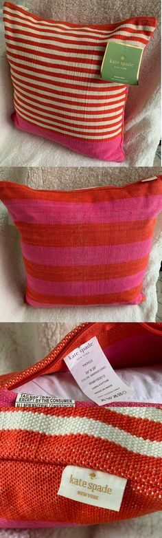 This pillow is so Kate Spade. Blue Throws, Square Patterns, Decorative Throws, Kate Spade Pink, Throw Pillow Cases, Bed Pillows, Reusable Tote Bags, Orange, Cotton