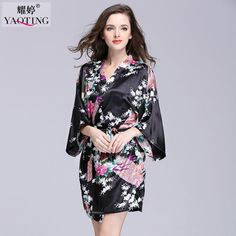 JiaHuiGe Faux Silk Bathrobe Women Satin Kimono Robes For Women Robes  Bridesmaids Long Kimono Robe Bride Silk Robe Dressing Gown  995c1f210