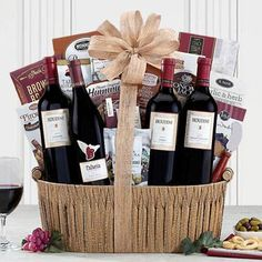 Wine Gift Baskets - Red Wine Gift Basket Toffee Nut, Butter Toffee, Honey Crunch, Brownie Brittle, Smoked Gouda Cheese, Wine Country Gift Baskets, Sweet Cherries, Chocolate Hazelnut, Red Blend Wine