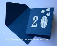 """Carte anniversaire """"20 ans"""" et son enveloppe assortie"""
