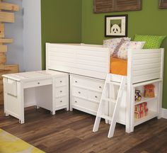 You can provide your child's bedroom with a lot of open space by adding this low loft bed to the decor. The piece carries a linen white finish and features a side railing to prevent falling that incorporates gently horizontal slat panel look into the design. In addition, the ladder creates easy access up and down the bed. Plus, two four drawer chests and a pull-out work desk are incorporated into the base design of the lofted bed. This bed gives you all the storage and work space your ch...