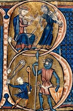 """Illuminated letter """"B"""" - musicians and """"David & Goliath"""" (?).  This is one of the oldest letters that I've seen. 1201 - 1250, France"""