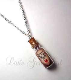 Essence of Poison Apple - Evil Queen - Snow White - Glass Bottle Cork Necklace - Potion Vial Charm - Green Black - Magic Spells