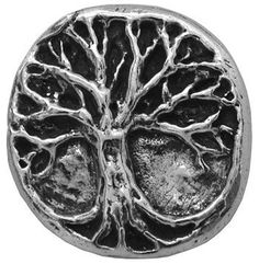 Fancy and Decorative {20mm w/ 1.5mm Back Hole} Single Unit of Large Size Round 'Popper Shank' Sewing and Craft Buttons Made of Metal w/ Vintage Mystic Tree of Life Metallic Symbol Design {Silver and Black} *** Read more reviews of the product by visiting the link on the image.