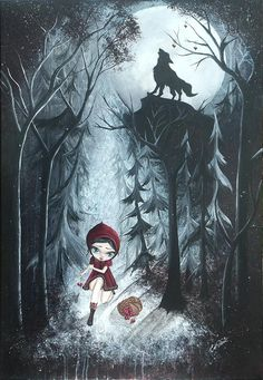 Red Riding Hood Painting by Oddball Art Co by Lizzy Love - Red Riding Hood Fine Art Prints and Posters for Sale
