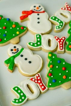 Holiday sugar cookies - Letter cookie cutters and then bake the letters pressed together to get the word as one cookie...I never thought of that!