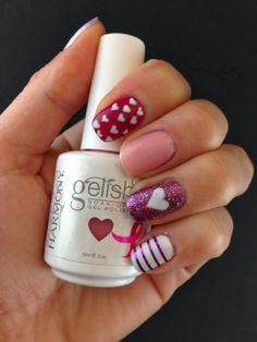 Valentine's Day Hearts Manicure