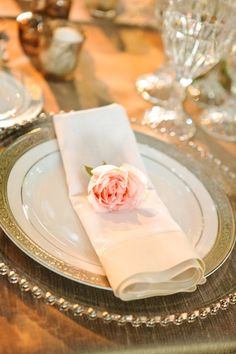 napkin and paper flower for each place setting