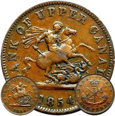 """""""St George the Dragon Slayer"""" 1854 BANK OF UPPER CANADA One Penny Sku #EM4 Saint George And The Dragon, Canadian Coins, Dragon Slayer, Old Coins, Saints, Canada, Ebay, Money, Silver"""