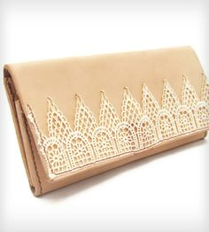 Lace and Leather Wallet by Cicada Leather Company on Scoutmob Shoppe. Roomy, handsewn clutch wallet.