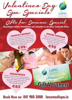 Get yourself ready for #ValentinesDay with our Spa Specials or enjoy a truly romantic spa treat with your special person in our luxury and warm welcoming environment at LaNu Medi Spa Drogheda. If you are looking for perfect Valentine Gift then, purchase a gift voucher for any of our day spa treatments. Be pampered and indulged together with our special packages including Couples Retreat, Amore Package or Indulgence. Contact us today to reserve your booking or to purchase gift voucher. Valentine Special, Valentine Ideas, Valentine Gifts, Day Spa Specials, Couples Spa, Salon Promotions, Salon Signs, Spa Packages, Estheticians