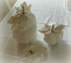 WHITE PUMPKIN handmade shabby cottage style fall by loveitshabby, $4.50