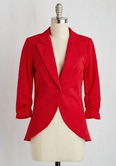 Fine and Sandy Blazer in Red. No need to roll up your sleeves before the big meeting - this one-button blazer boasts ruched 3/4-length sleeves for a look that means chic and functional business. #red #modcloth