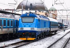 [CZ] ČD 380 002 reappears in new standard design [updated] – Railcolor News Electric Train, Better Half, Paint Schemes, Armored Vehicles, Public Transport, Locomotive, Shades Of Blue, Diesel, Blue And White