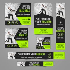 Buy Business Banners by Hyov on GraphicRiver. Promote your Products and services with this great looking Banner Set. Banner Design Inspiration, Web Banner Design, Social Media Banner, Social Media Design, Anuncio Google, Pamphlet Template, Facebook Cover Design, How To Make Banners, Zentangle