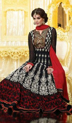 Black and Red Embroidered Georgette Long Anarkali Dress Price: Usa Dollar $126, British UK Pound £74, Euro93, Canada CA$135 , Indian Rs6804.