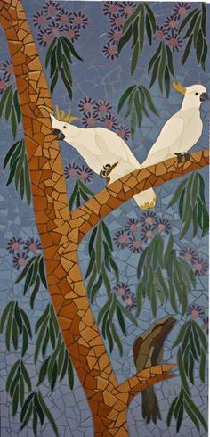 Australian native birds mosaic mural set created in ceramic tiles by Brett Campbell Mosaics