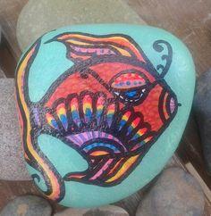 Ventura Rocks.hand painted beach stone by; Cassandra