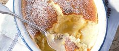 Lemon self-saucing pudding, also known as lemon surprise pudding, is easy to whip up and can be ready in an hour. Make one simple mixture and as it cooks it separates into a light sponge on top and zesty lemon curd beneath. Lemon Desserts, Lemon Recipes, Köstliche Desserts, Sweet Recipes, Pudding Recipes, Cake Recipes, Dessert Recipes, Bbc Good Food Recipes, Cooking Recipes