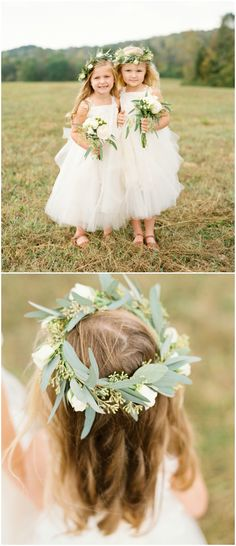 Two sweet flower girls, white tulle dresses, leafy flower crowns, white floral bouquets // JoPhoto