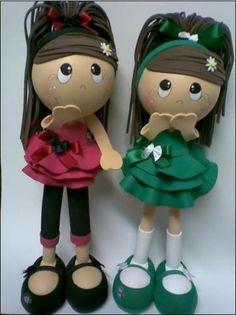 fun foam little girl dolls...love their hairstyle...photos/patterns