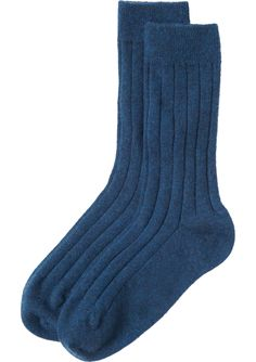 CASHMERE BED SOCKS | Ribbed cashmere blend bed socks with a finely ribbed ankle cuff.