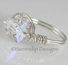Wire Wrapped Silver Ring Swarovski Crystal Cube Clear AB. $24.00, via Etsy.