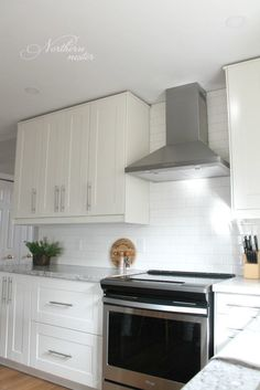 IKEA Kitchen Reno: grimslov cabinets / backsplash down to counter & front control stove