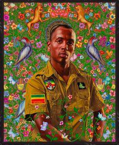 Kehinde Wiley - Kalkidan Mashasha (an Ethiopian-Israeli hip-hop artist) DIOR HOMME African American Artist, African Art, American Artists, Rococo Painting, Kehinde Wiley, Military Drawings, Black Artwork, Wow Art, Black Artists