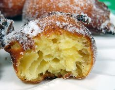"Super duper easy donuts: ""Zeppole"" are a Greek pastry, adopted by Italian tradition to celebrate St. Joseph's feast day in March. Italian Donuts, Italian Desserts, Just Desserts, Italian Recipes, Delicious Desserts, Dessert Recipes, Yummy Food, Italian Cookies, Greek Pastries"