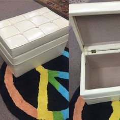 "Very hip, very cool white vinyl storage ottoman, also works as a small bench. Looks like an original 60s-70s piece. 14 1/2""high, 24""wide and 16""deep. In very good vintage condition. $45. PayPal accepted. Delivery available. 609-238-3793 #ottoman #storage #vintage #furniture #60s #70s #retro #southjersey #lunas_treasures"
