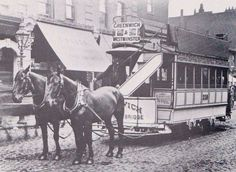"Horse drawn tram outside the King William IV Trafalgar Road Greenwich also known as "" a growler """