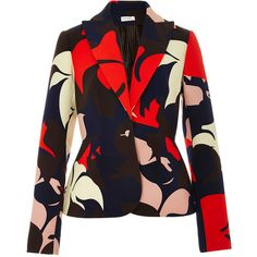 DELPOZO Floral Printed Cotton Blazer ($1,400) ❤ liked on Polyvore featuring outerwear, jackets, blazers, blazer, coats, coats & jackets, floral print blazer, tailored jacket, floral blazer and floral jacket