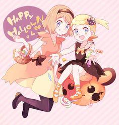 Halloween Anime Pokemon girls manga candy pumpkin trick or treat cute kawaii