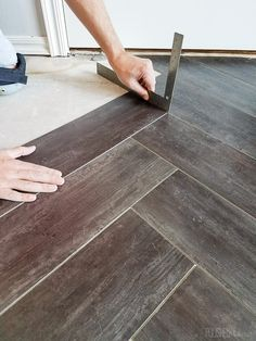 Oh Yes She DIYd Herringbone Floors With Vinyl Stick Down Planks - Stick down hardwood flooring