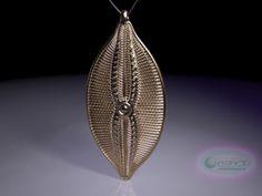 Navicula bulatta Pendant ~ 46mm (1.8 inches) in Polished Bronze