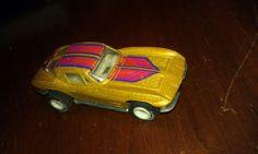 CORVETTE,toy car,Goldtone,Pink Stripe,good cond,retro,1979,hot wheels,