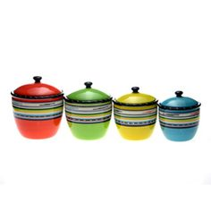 @Overstock.com - Store your foodstuff in contemporary style with this four-piece ceramic canister set from Certified International. The Santa Fe design features vibrant hues, ensuring that they will add a colorful complement to many kitchen decor schemes.http://www.overstock.com/Home-Garden/Certified-International-Santa-Fe-4-piece-Canister-Set/6528315/product.html?CID=214117 $79.99