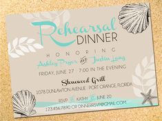 Rehearsal Dinner Invitation  Save the Date  by Owen & Sally Designs