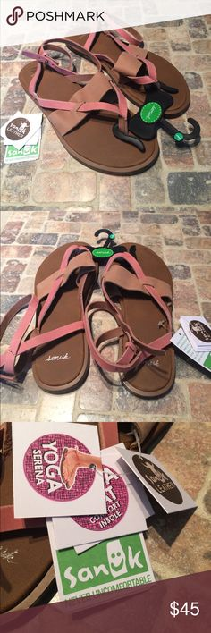 Sanuk leather sandals New with tags, Sanuk leather gladiator style sandals. Size 7, tan and rose colored straps. Slip into a zen state of comfort with these leather sandals engineered with Sanuk's signature yoga mat-inspired footbed to anchor strides in cushioned comfort Sanuk Shoes Sandals
