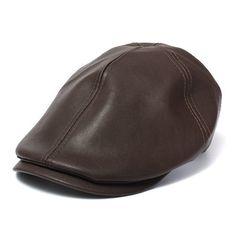 Unisex Artificial Leather Bonnet Newsboy Beret Cabbie Golf Hat Gentleman Cap  For Men Women 0a59f4a63fd5