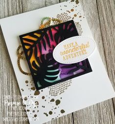 Stampin' Up! handmade travel card using Sea of Textures Swirly Bird and Tropical Thinlits, featuring the new Brights collection - Sarah Fleming - Prepare to Dye Papercrafts