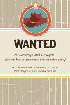 #custom #invitation #label #cowboy #western #cowgirl #birthday #party #kids #bottle #your #brand from www.BottleYourBrand.com Country Birthday Party, Cowgirl Birthday, Cowgirl Party, Farm Party, 3rd Birthday, Birthday Ideas, Birthday Parties, Western Theme, Cowboy Western