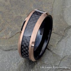 Best Diamond Engagement Rings : Two tone Tungsten Wedding Band, Black Carbon Fiber Ring, Mens Wedding Ring, . - Buy Me Diamond Wedding Ring For Him, Black Wedding Rings, Clean Gold Jewelry, Copper Jewelry, Jade Jewelry, Leather Jewelry, Womens Wedding Bands, Wedding Men, Wedding Ideas
