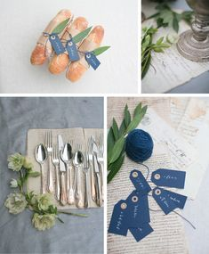 French market wedding theme. Love the navy tags and the cutlery shot. Gorgeous
