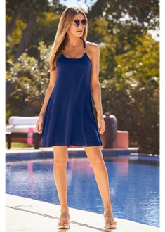 Short Casual Dress by Boston Proper ~ Distinctive hardware detail highlighting the shoulder and back is all this Short Casual Dress needs as it effortlessly drapes for a breezey look and feel. Simplicity never looked so good. Available in Black, Coral and Blue. | Cute Summer Dress | Summer Dress Ideas | Summer Outfit Ideas | Vacation Dress | Cruise Dress 🚢 | Blue Casual Dress | Resort Dress | Date Dress | Boston Proper Clothes | Boston Proper Clothing | #BostonProper 😎 Resort Dresses, Vacation Dresses, Date Dresses, Sexy Dresses, Cute Summer Dresses, Summer Outfits, Classy Wedding Guest Dresses, Cruise Dress, Animal Print Outfits