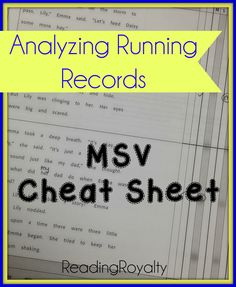 How to analyze errors and self corrections on a running record. Includes a FREE MSV cheat sheet! - Michaela Almeida, Reading Royalty