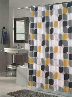 Black Yellow And Grey Curtain For Shower.