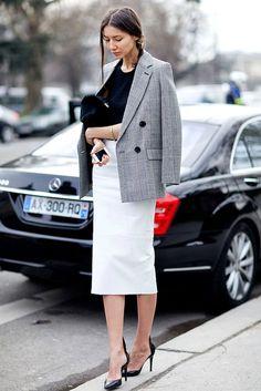 Paris Street Style: Black And White Workwear Inspiration -- Checked Blazer, White Leather Skirt & Black Pumps