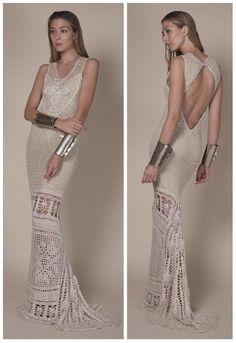 Agostina Bianchi beige long crochet dress